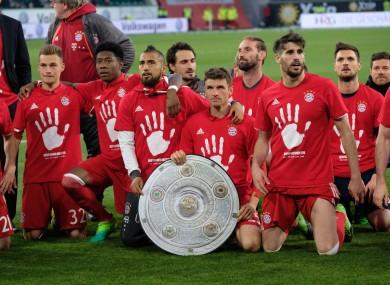 Bayern celebrate their title win.