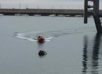 The jet skiers were stranded in Dún Laoghaire harbour.