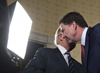 Trump and Comey meeting in the White House.