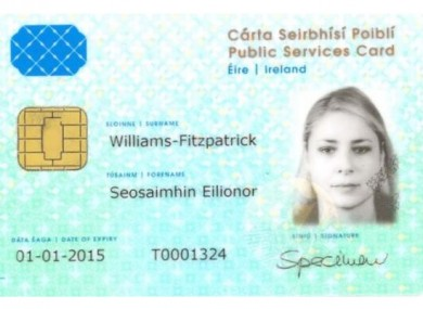 A sample Public Services Card