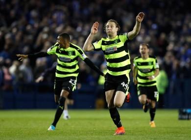 Huddersfield Town's Michael Hefele celebrates his side's shootout success.
