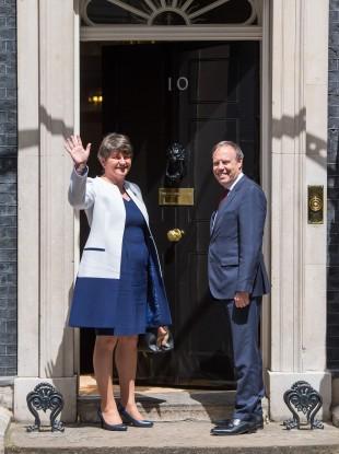 DUP leader Arlene Foster and DUP deputy leader Nigel Dodds arriving at 10 Downing Street today.