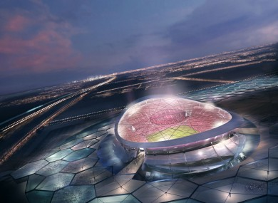A computer image of the 'Lusail' stadium, designed by Biritish architect Norman Foster, for the FIFA World Cup 2022, to be built in Doha.