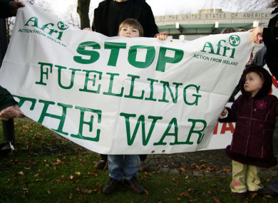 A 2003 demo against the use of Shannon by US troops.