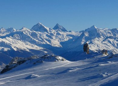 The Diablerets glacier and mountain range.