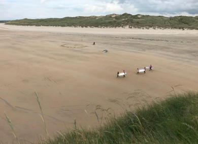 Tullan Strand in Bundoran. A number of surfers managed to get the footballers to safety.