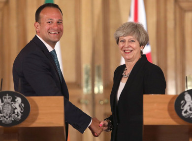 File photo dated 19/06/17 of Prime Minister Theresa May with Taoiseach Leo Varadkar.