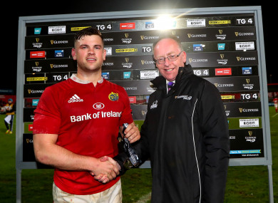 Conor Oliver receiving the man-of-the-match award following Munster's win over Glasgow Warriors in April.