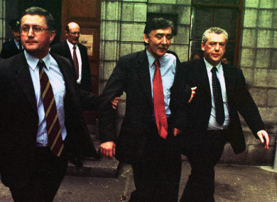 Sean O'Callaghn (second from right) escorted from court in 1998