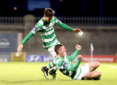 James Doona (below) celebrates scoring a last minute winner in Rovers' EA Sports Cup semi-final win.