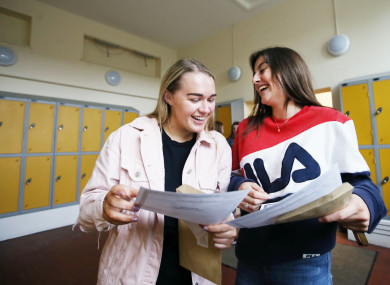 Leah Duggan and Sarah Kelly from Maryfield College checking their results last Wednesday.