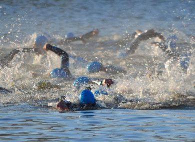 (File photo):  Swimmers taking part in a triathlon.