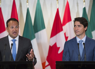 Taoiseach Leo Varadkar and Canadian Prime Minister Justin Trudeau during Montreal news conference.