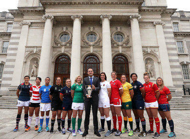 Taoiseach Leo Varadkar with the captains from the 12 competing nations in Dublin this morning.