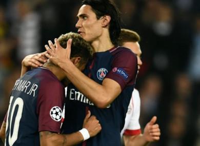 Cavani and Neymar celebrate during tonight's match.
