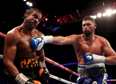 Bellew landing a punch on Haye back in March.