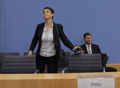 Frauke Petry, co-chairwoman of the AfD, leaves a press conference of the Alternative for Germany.