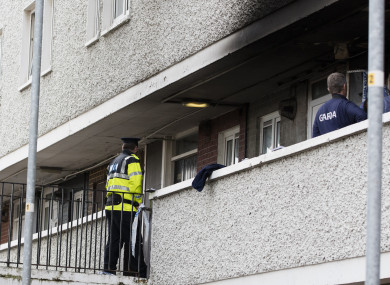 Gardaí at the scene of the fire.