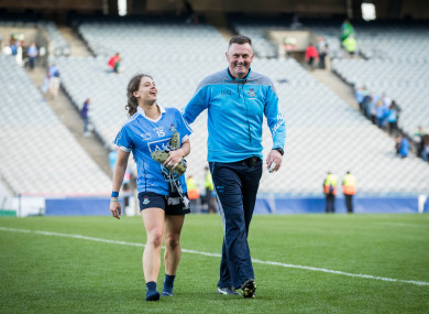 Mick Bohan and Player of the Match Noelle Healy celebrate.