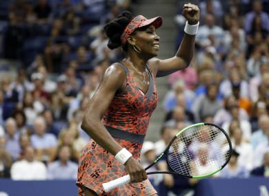 Venus Williams of the United States celebrates after the Women's Singles quarter final match against Petra Kvitova of the Czech Republic.