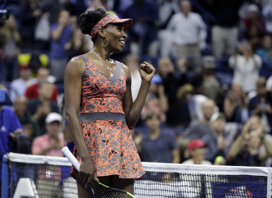 Venus Williams, of the United States, reacts after defeating Carla Suarez-Navarro, of Spain.