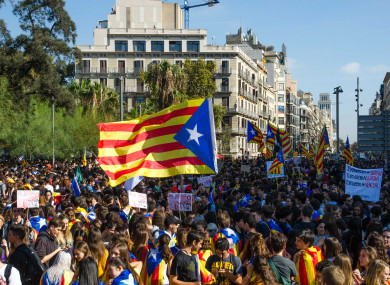 Catalonia protest in Barcelona on Thursday