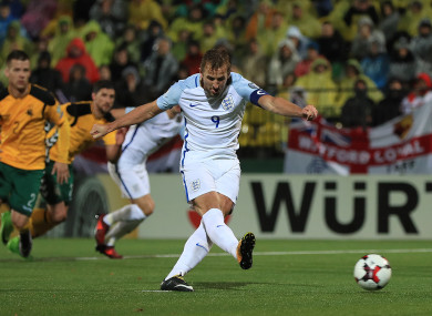 England's Harry Kane scores from the penalty spot.