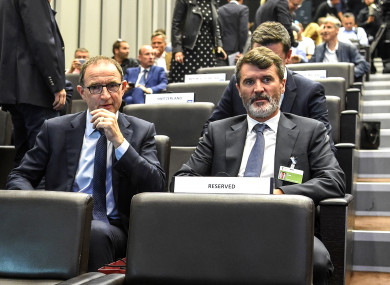 O'Neill and Keane at last week's draw in Zurich.
