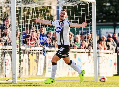 Robbie Benson celebrates scoring for Dundalk.