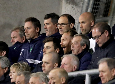 Ireland's management team Steve Walford, Steve Guppy, Roy Keane, Martin O'Neill and Dan Horan in the crowd at Tallaght.