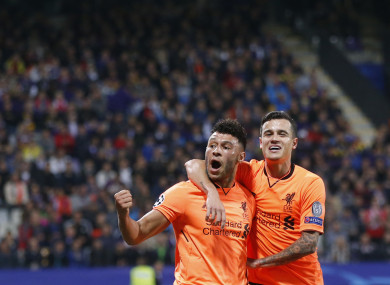 Liverpool's Alex Oxlade-Chamberlain, left, celebrates with Philippe Coutinho.