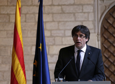 Puigdemont making the statement today