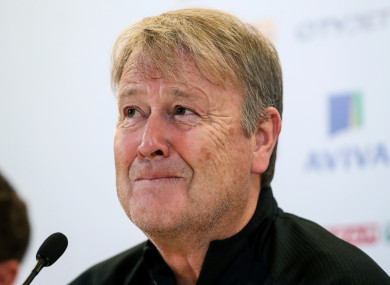 Denmark manager Age Hareide pictured at today's press conference.
