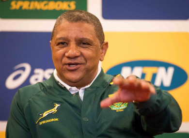 South Africa head coach Allister Coetzee speaking in Dublin this morning.