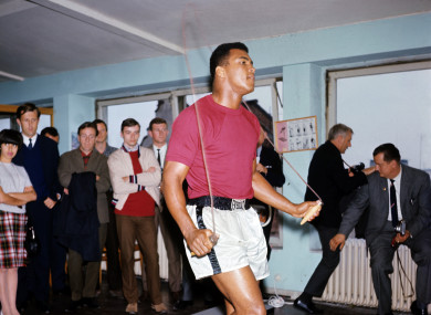 Muhammad Ali trains for a bout in 1966.