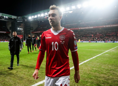 Christian Eriksen walks off the pitch at Telia Parken following his side's 0-0 draw on Saturday.
