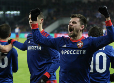 CSKA Moscow players celebrate a Champions League goal against Benfica.