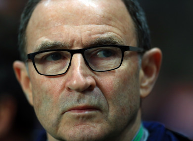 Martin O'Neill pictured at tonight's game in Copenhagen.