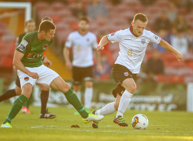 David Cawley under pressure from Garry Buckley while playing for Galway United against Cork City in July.