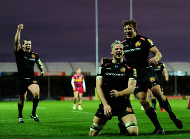 Exeter Chiefs' Jonny Hill celebrates his try.