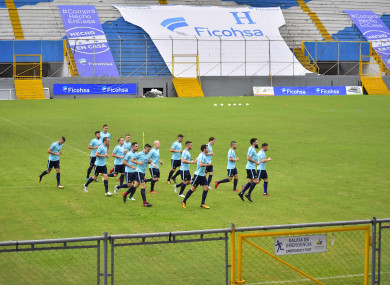 Australian soccer players jog during a training session at the Francisco Morazan Stadium in San Pedro Sula, Honduras.