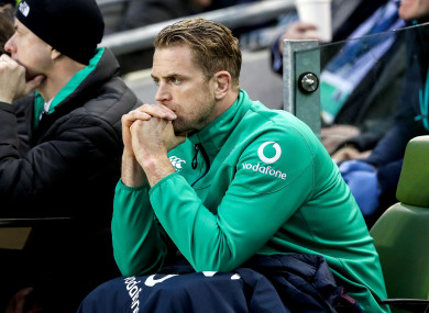 Heaslip watches from the sidelines after his withdrawal from the clash with England.