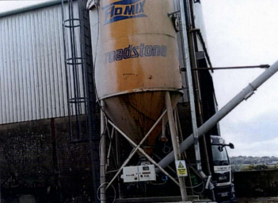 A lime storage silo at the site.