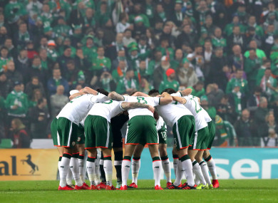 The Ireland team in a huddle before kick-off.