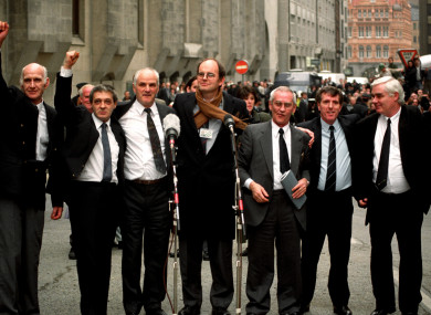 The Birmingham Six outside the Old bailey in London, after their convictions were quashed.