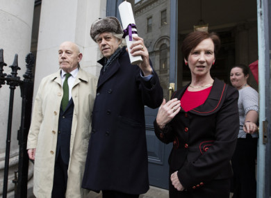 Bob Geldof on his way into Dublin City Hall before handing back his Freedom of the City of Dublin.