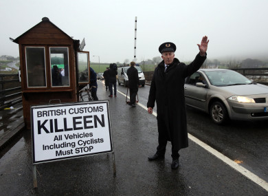 A mock customs checkpoint set up on the Irish border earlier this year.