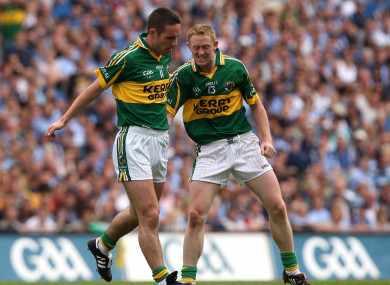 Colm Cooper congradulates Declan O'Sullivan.