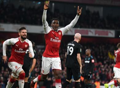 Arsenal striker Danny Welbeck celebrates a goal.