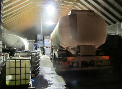 A picture of a makeshift processing facility raided by Revenue last year.